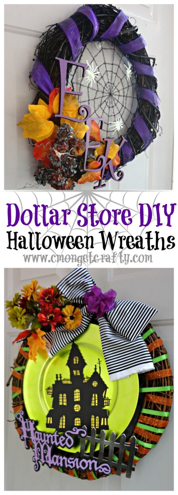 With a few finds at the Dollar Tree and some creativity, you can pull off an amazing Halloween wreath this year! #dollartree #affiliate #halloweendiy #wreath #cricut