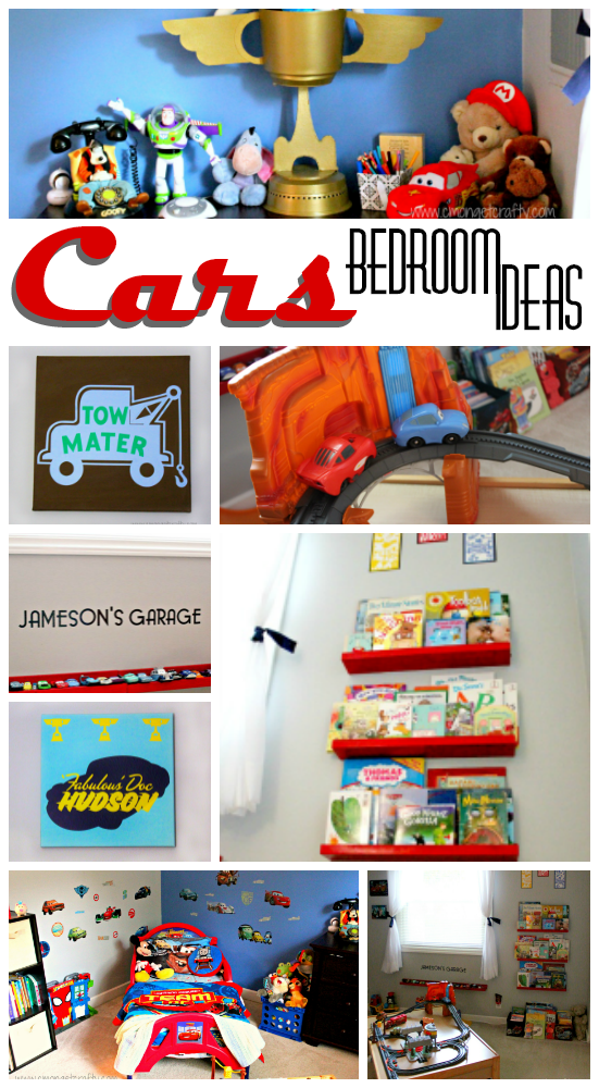 If you have a Cars fan at home, he or she will love these easy DIY tips to creating the perfect Pixar Cars themed bedroom! Plenty of toy car and stuffed animal storage and DIY wall art!