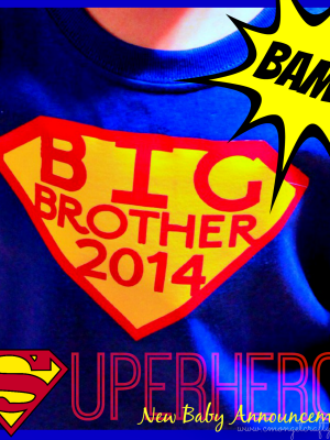 DIY Superhero Big Brother Shirt for a 2nd Baby Announcement!