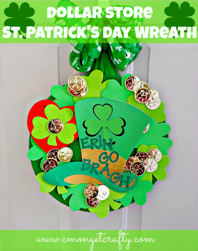 Using dollar store finds, you can create a unique and festive St. Patrick's Day wreath!