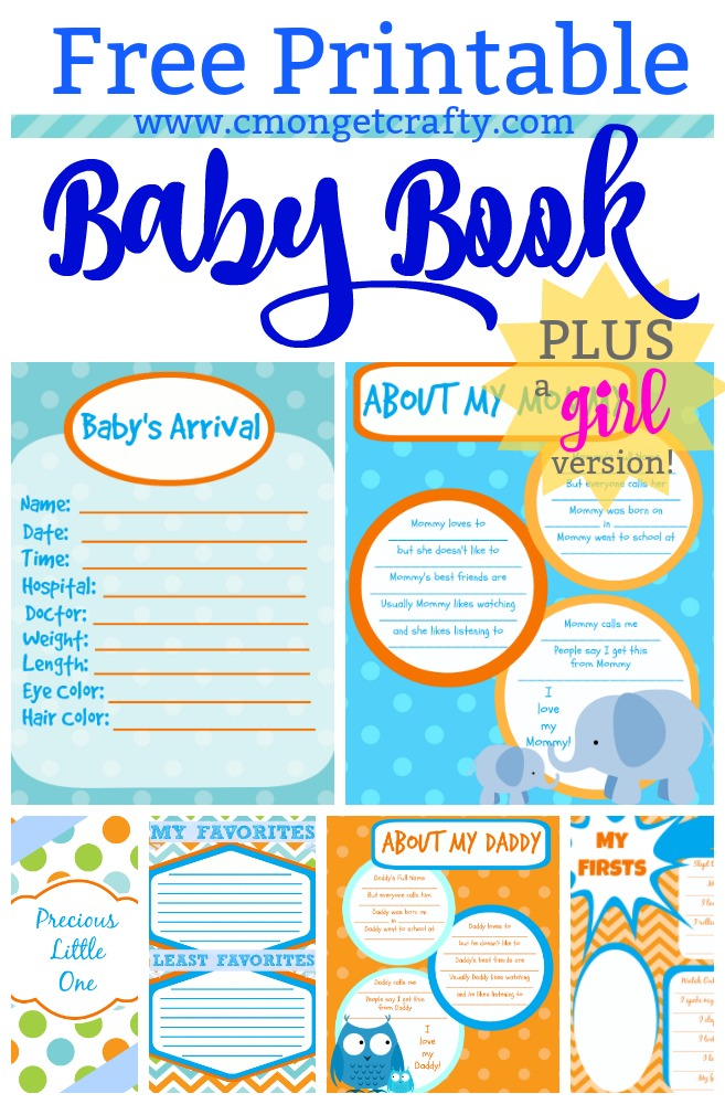 These FREE printable baby book pages have been downloaded over 20k times!!! There's a free of printables in orange and blue, with a link to a feminine set in pink as well! #babybook #freebie #freeprintables #babyshower #babygift