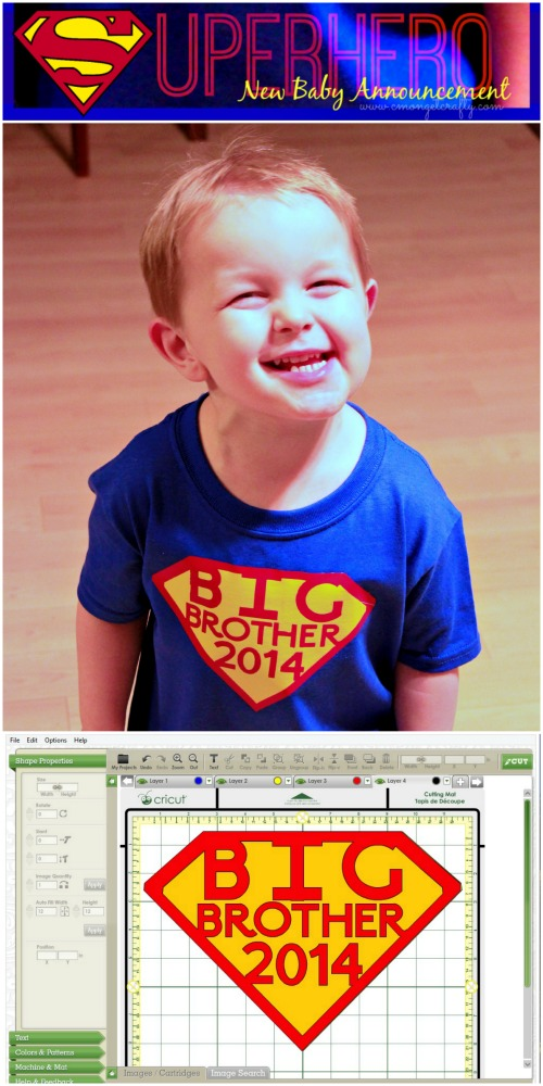 Make your new baby annoucement alongside your little superhero with this easy DIY Big Brother shirt! #superheros #bigbrother #newbaby #announcement #babyshower #diyshirt #cricut