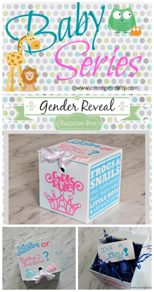 Here's a gender reveal idea you can make at home for super cheap! #diy #babyshower #babyseries #genderreveal #cricut #crafts