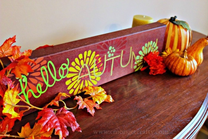 DIY Autumn Sign with FolkArt Paint and Stencil #plaidcrafts