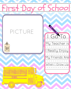 First Day of School Printable Baby Book Page