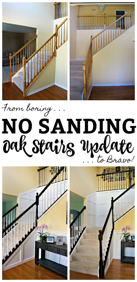 You too can update your boring oak staircase without ever sanding! I already did it, so check out my tips and tricks for updating a boring oak staircase to a beauty! #chalkpaint #nosanding #updatingoakstairs #homediy #diystaircase #diyhomereno