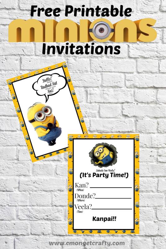 Minions Printable Invitation Pretty Printables C Mon Get