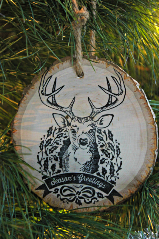 Create an easy rustic ornament with wood and stamps
