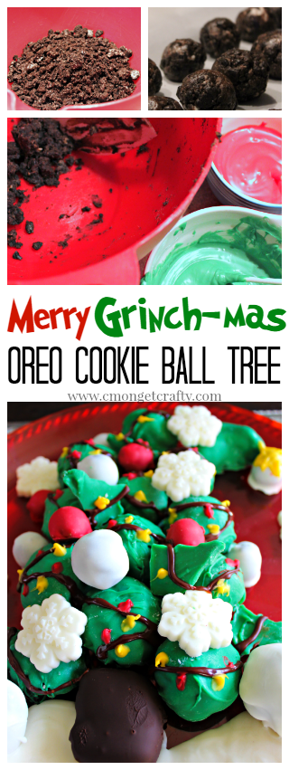This OREO Cookie Balls Grinch Tree is easy and simple to make, but adds some great flair to your holiday tablescape! #grinch #christmasdessert #oreocookieballs