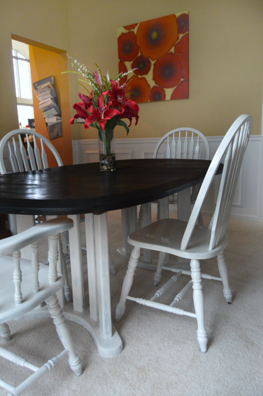 So many furniture flips in t0his April Furniture Refresh Challenge! Mine is an updated dining room table