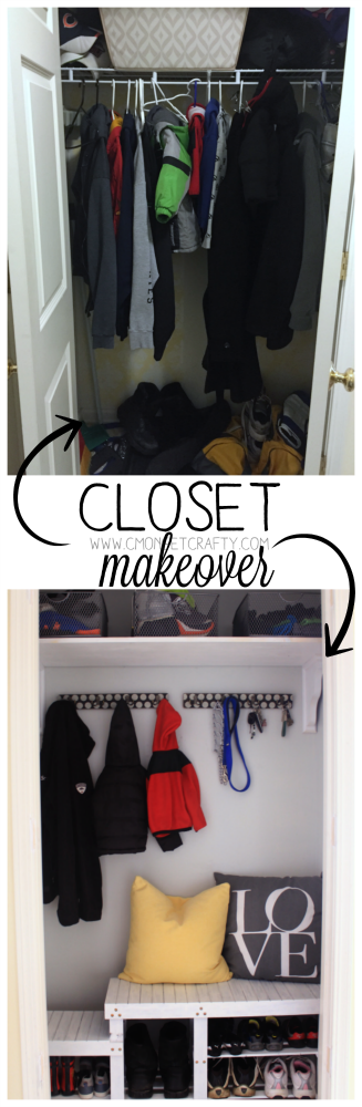 updating a closet to a mud room