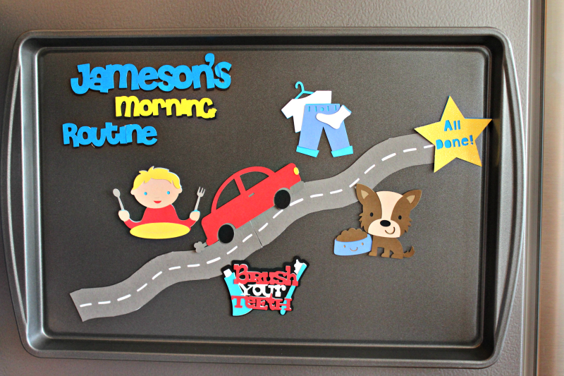 Make an easy magnetic morning routine board to help the kiddos stay on track for school!