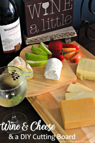 Msg4 21+ It is so easy to throw together this DIY cutting board server and have a custom piece for your next party! Display assorted cheeses, fruit, and crackers on top and pair with some delicious wine for instant party fare! #VinoBlockParty #ad