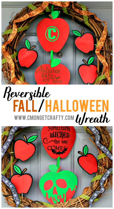 Transform from fall to Halloween wiith this easy reversible wreath!