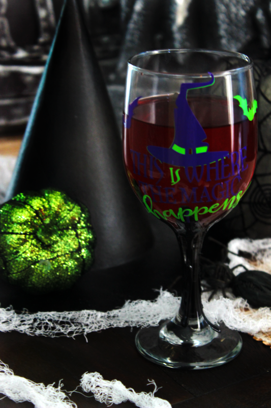 "There's no mystery that a witch's potion is the source of her magic. Make your ""magic potion"" extra spooky with this Halloween wine glass tutorial!"