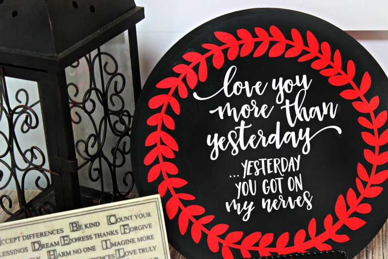 Romance isn't dead, but it doesn't have to be all hearts and flowers either! I made this sassy valentine's day decor because it perfectly summarizes my marriage, ha ha!