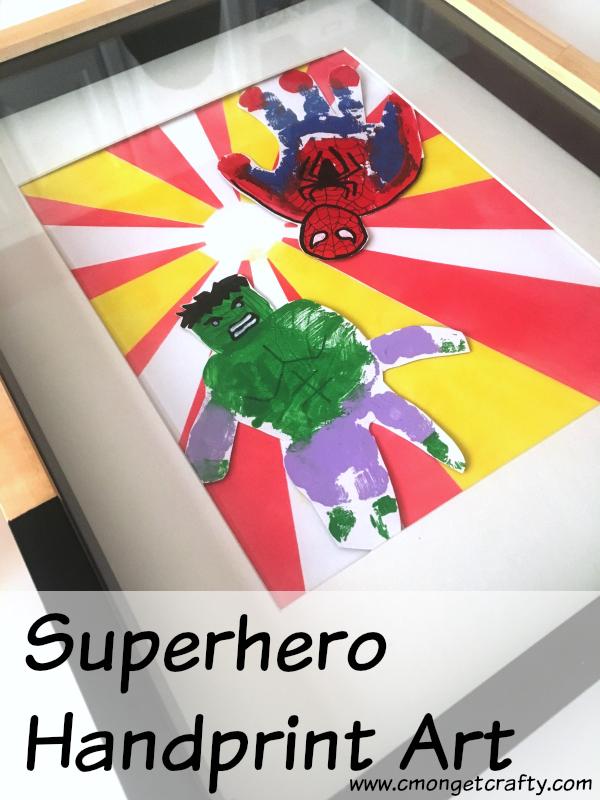 My son loves the Avengers, but I love making art meaningful. So we struck a compromise with this superhero handprint art! #handprintart #craftroomdestashchallenge #avengers #hulk #ironman #spiderman #captainamerica #boysdecor #kiddecor #boymom #kidroom #bedroomdecor #boybedroom #kidcrafts #sharpie