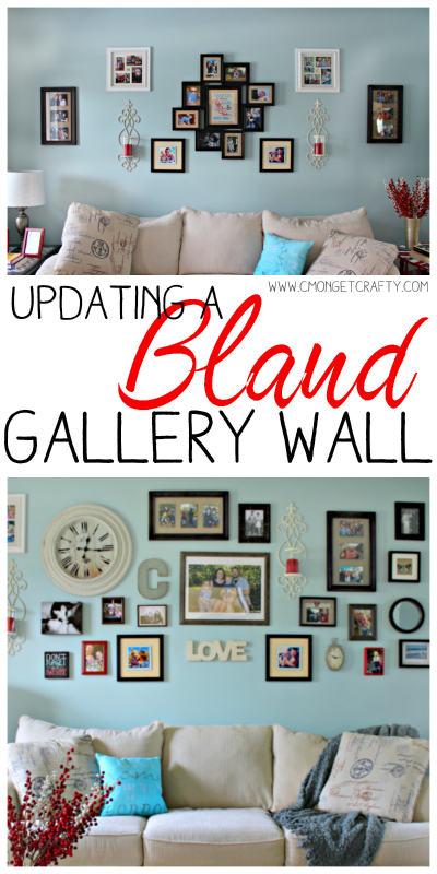 If you are tired of your bland gallery wall with symmetrical pictures and no flair, then check out what I used to update mine! #CraftRoomDestash #cmongetcrafty #gallerywall #decor #design #picturewall #pictures #homedecor #diy