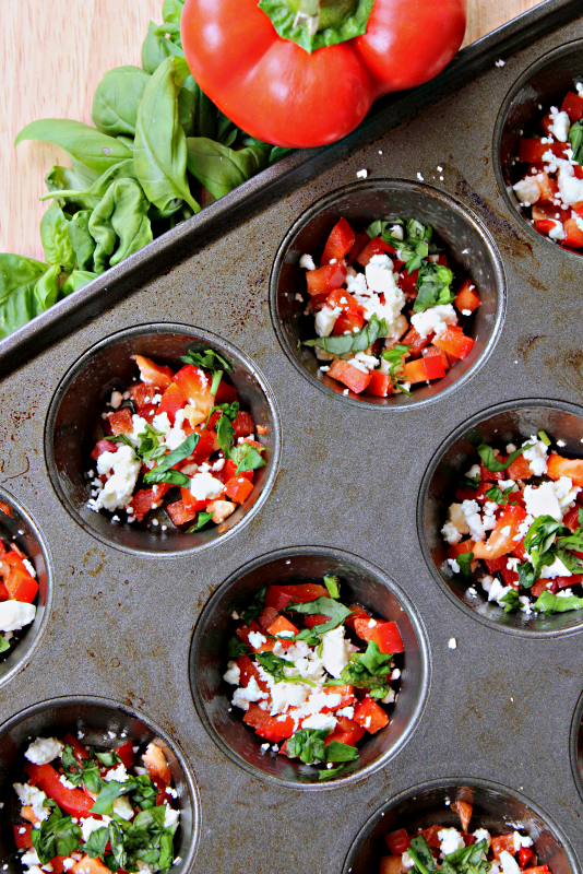 Mix up your breakfast routine with these healthy and delicious egg muffins! Red pepper, basil, and feta make a striking combination with a low calorie impact.