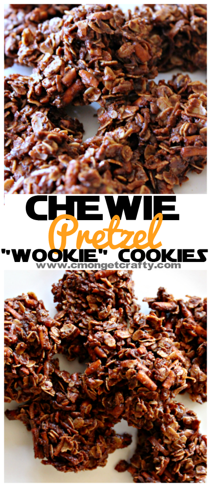 "These no bake ""Chewie"" chocolate pretzel wookie cookies are the perfect addition to any Star Wars party or movie night!"