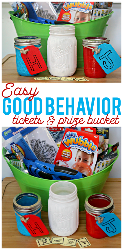 If you are suffering from tantrum troubles, this easy Good Behavior Ticket and Prize Bucket system might be the perfect solution for you! Easy free printable tickets and inexpensive prizes to redeem have been having great results in our house this summer!