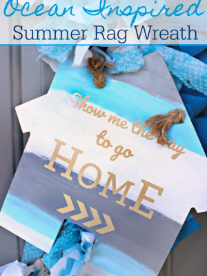Ocean Inspired Summer Rag Wreath {Movie Monday: JAWS}