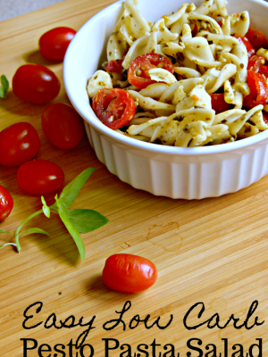 When trying to determine a good dish to bring to a Labor Day BBQ or just a refreshing meal during the hot summer days, look no further than this super simple Pesto Pasta Salad! Using low carb noodles, you don't even have to feel guilty about it!