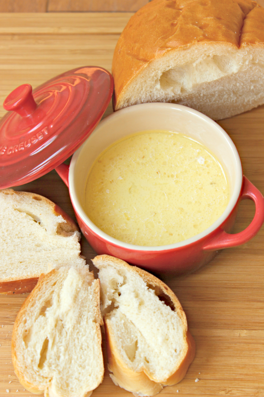 This bagna cauda dip is a delicious blend of salty garlicky goodness - the perfect snack or appetizer to any tailgate party or fall fest. My family has made this dish for football game viewing for years, and it always tastes amazing!