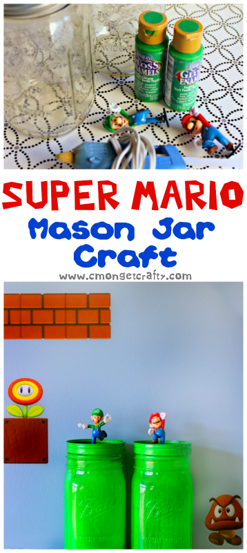 This is a simple mason jar craft, perfect for a Super Mario party or birthday party centerpiece!