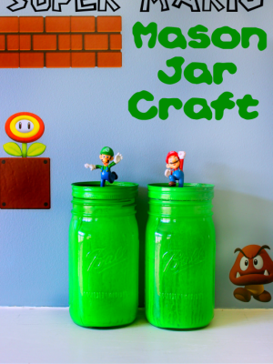 Super Mario Party Mason Jar Craft {Monthly Crafty Destash}