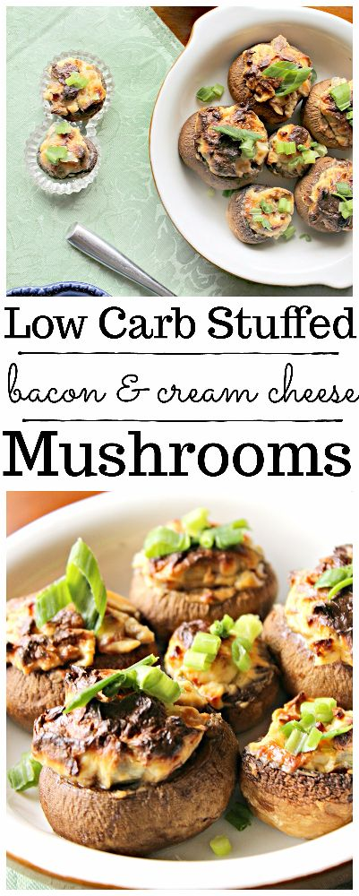 These delicious, low carb bacon cream cheese stuffed mushrooms will FLY off the plate, so make sure to make plenty!!
