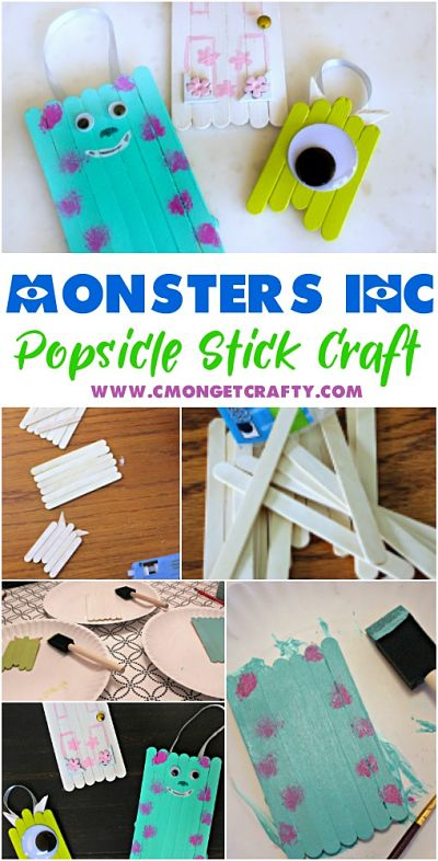 You Need To Make These Fun Monsters Inc Popsicle Stick Ornaments