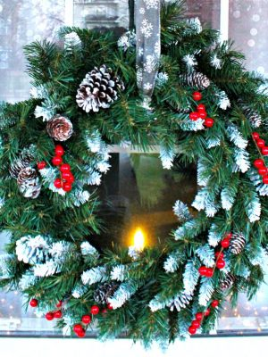 Santa Claus Wintry Porch Window Decor