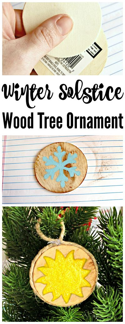 Double-Sided Winter Solstice Wooden Tree Ornaments | 50 Awesome DIY Yule Decorations and Craft Ideas You Can Make for the Winter Solstice