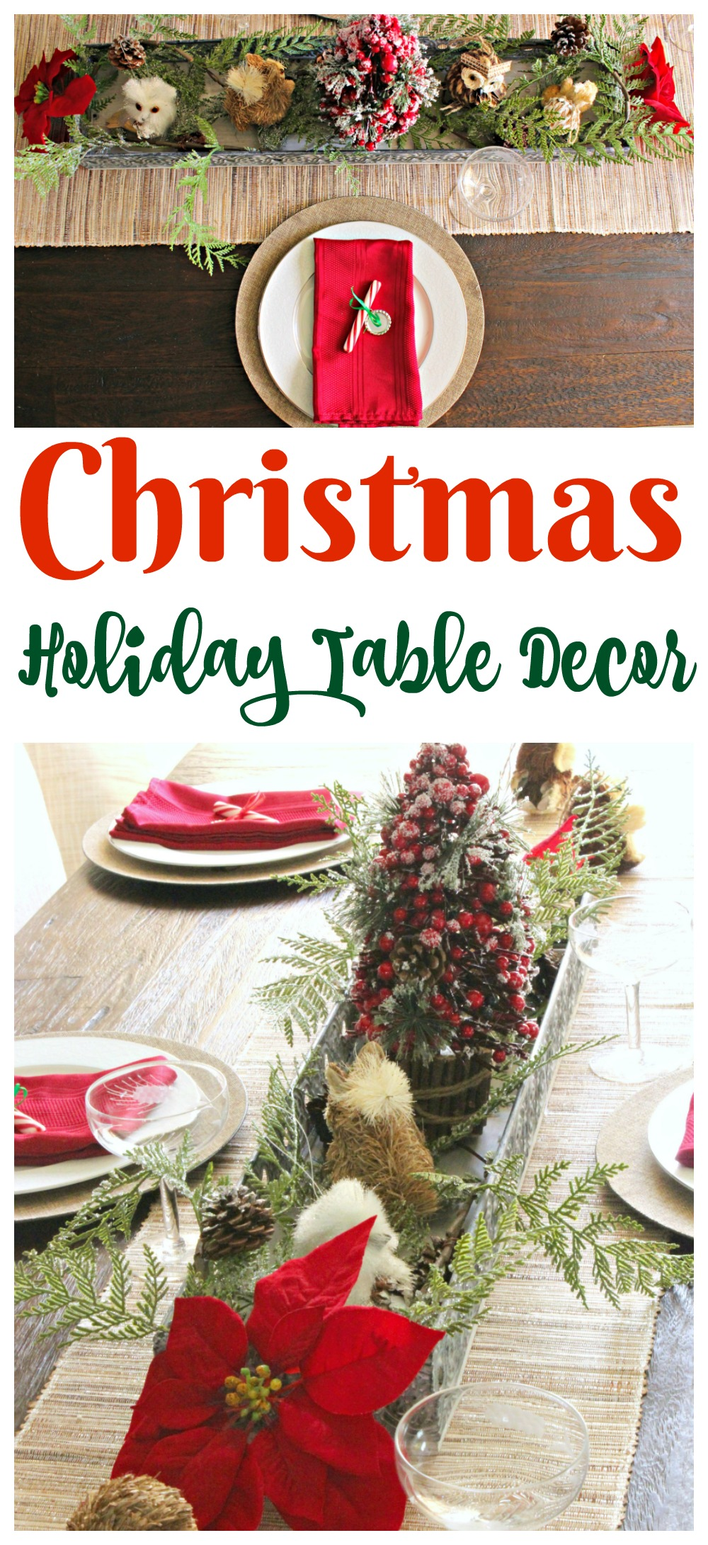 Rustic and Sparkly Christmas Holiday Table Decor