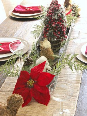 Here's my latest version of my Christmas holiday table decor