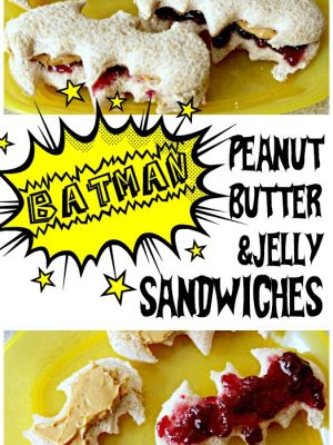 How much would your little superhero fan love these easy Batman Panut Butter Sandwiches!? So easy to make and perfect for a Batman themed or Superhero themed party! #Batman #Superhero #superheroparty