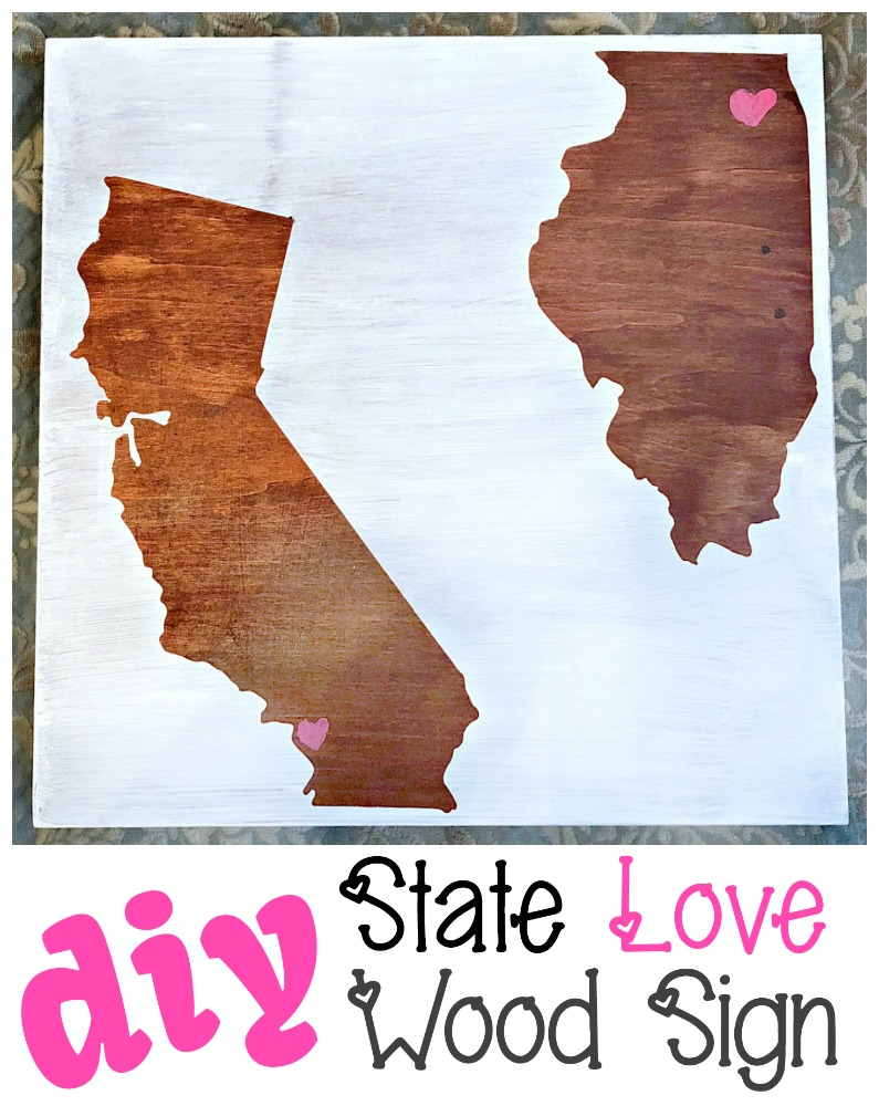 As a special gift to someone far away, you can easily pull off this handsome DIY state love wood sign with little investment and a lot of love! #MonthlyCraftDestash #statecraft #homestate #statelove #giftideas #diy #woodsign #CraftRoomDestashChallenge