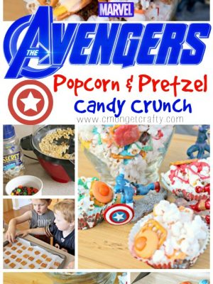 Who needs plain old movie theater butter popcorn when you can make this sweet and salty Avengers Infinity War popcorn crunch for a snack instead!? Super easy to make, and you can use air popped or microwave popcorn! #MovieMondayChallenge #MovieNight #Avengers #AvengersInfinityWar #kids #kidsnack #sweetandsalty #popcorncrunch #pretzelmelts #marvel #kidspartyideas #entertaining #partyideas #partysnack