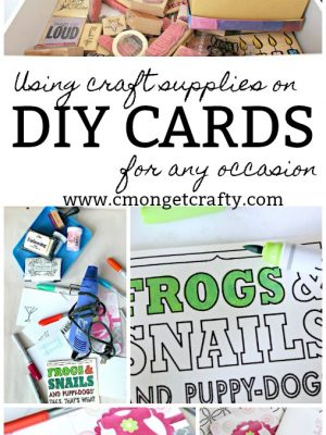 Do you have a huge stash of craft supplies hoarded somewhere? The #MonthlyCraftyDestashChallenge is perfect for you! See how I dug deep into my stash to create some easy DIY cards to keep on hand for any occasion!