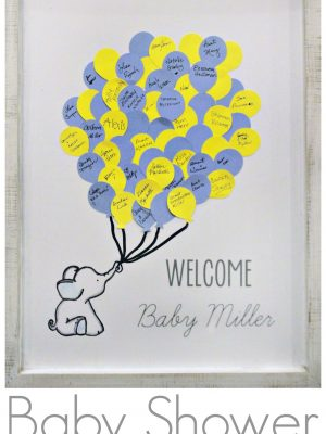 I was so excited to create this large version of an Elephant Baby Shower Guest Book that I'd saved on my Pinterest. It was such a fun crafty opportunity to create something for my cousin's first baby shower. #craftroomdestashchallenge #babyshower #diy