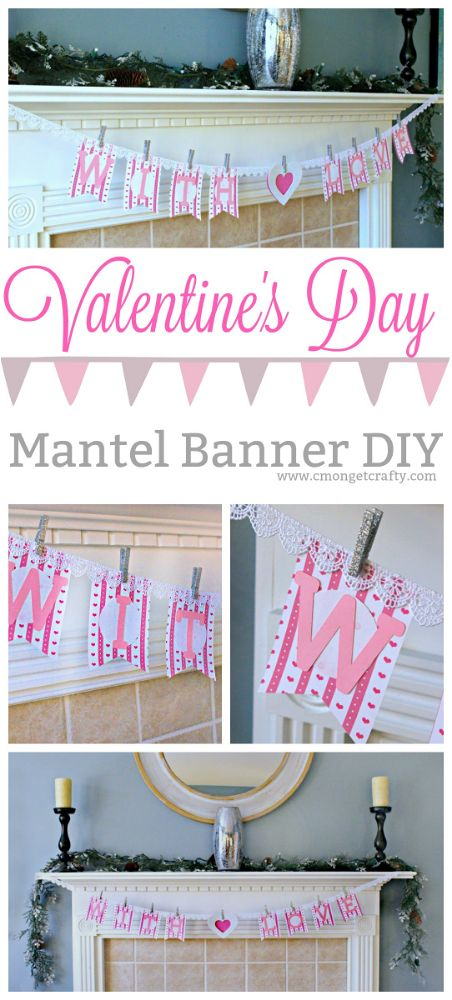 Make an easy and simple Valentine's Day banner to decorate your mantel using craft supplies you probably already own! #CraftroomDestash #valentine #valentinedecor #cricut #cmongetcrafty