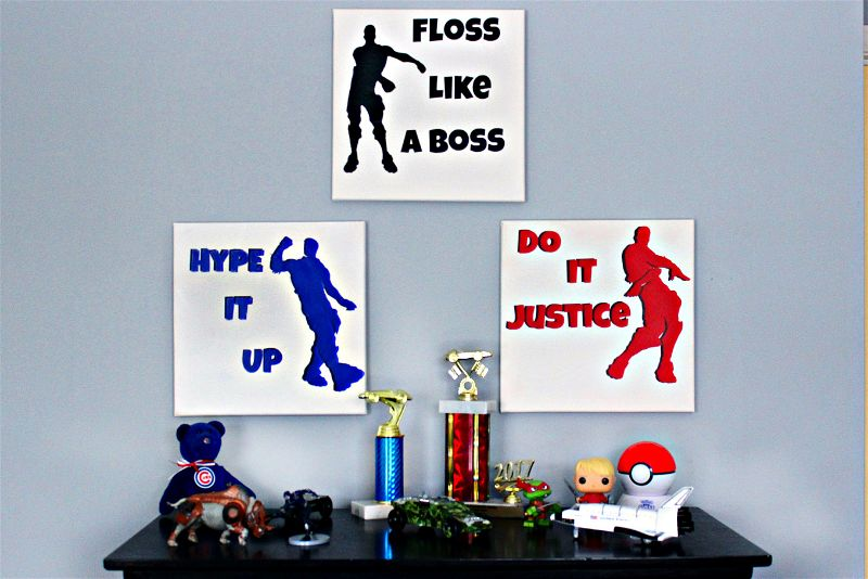 Is your kid obsessed with Fortnite? My son is! When we separated him and his brother into two bedrooms, I created this DIY Fortnite dance art to decorate his new solo room! #fortnite #diy #cmongetcrafty